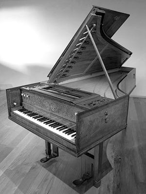 Harpsichord by LONGMAN & BRODERIP (London). Made by Thomas Culliford, July 1785.