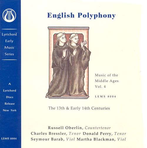 MUSIC OF THE MIDDLE AGES, Vol. 4 - English Polyphony of the 13th and Early 14th Centuries